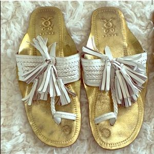 Figue Gold Scaramouche Leather Slide Sandal